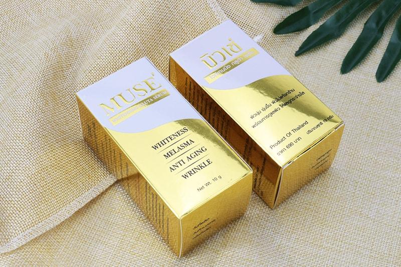 ออกแบบกล่องเซรั่ม เครื่องสำอาง ฟอยล์ทองทั้งกล่อง